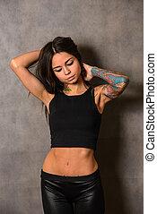Young woman wearing black  t-shirt
