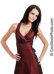 young woman wearing burgundy dress