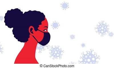 Young woman wearing disposable medical mask. Coronavirus protection and prevention. Self-isolation and quarantine looped animation. Protect yourself from virus infection movement concept
