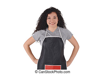 Young woman wearing kitchen apron