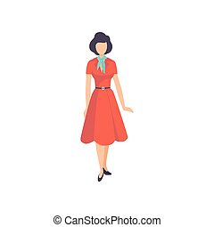 Young woman wearing retro red dress, vintage fashion people...