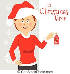 Young woman wearing santa clause costume stands next to blank board with christmas time sale text