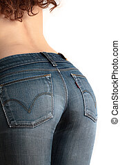 Young woman wearing tight jeans