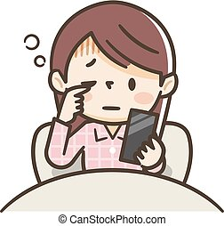 Young woman who operates a smartphone while waking up