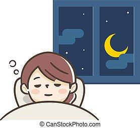 Young woman who sleeps comfortably
