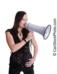 young woman wiht megaphone or bullhorn
