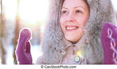 Young woman winter outdoors portrai