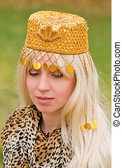 young woman with a beautiful headdress