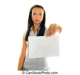 woman with a blank envelope