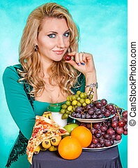 Young woman with a bunch of food