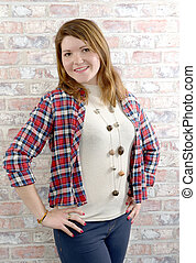 Young woman with a check shirt