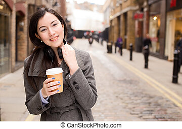 young woman with a coffee