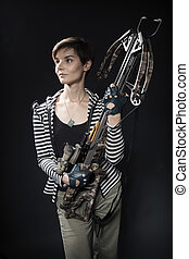 young woman with a crossbow