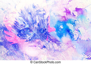 Young woman with a feather carnival face mask on abstract background, eye contact, Marble effect.