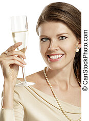 young woman with a flute of champagne