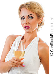 Young woman with a glass of champagne