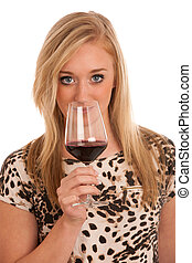 Young woman with a glass of wine