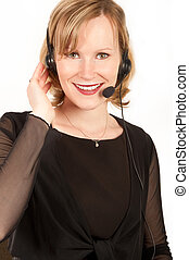 Young woman with a headset