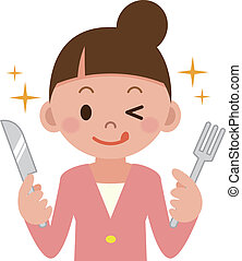 Young woman with a knife and fork