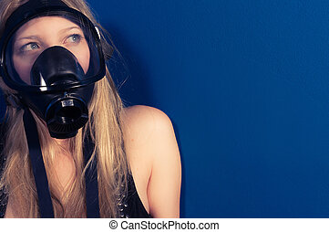 Young woman with a mask