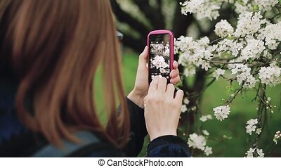 Young woman with a phone in a blooming spring garden. Back view.