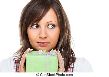 Young woman with a present