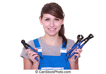 Young woman with a selection of grips