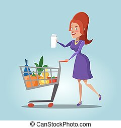 Young Woman with a Shopping Basket Full of Fresh Products. Healthy Food. Vector illustration