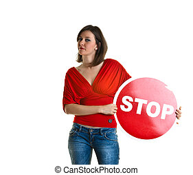 Young woman with a stop sign