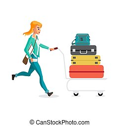 Young woman with a trolley with luggage in the airport terminal is late for the plane. Vector flat cartoon illustration isolated