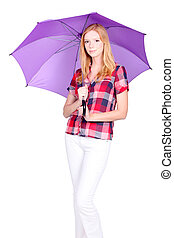 Young woman with a vibrant purple umbrella