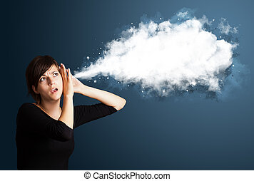 Young woman with abstract cloud