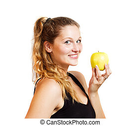 Young woman with an apple