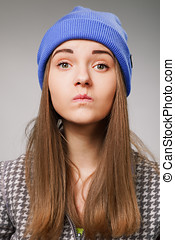 Young woman with angry expression