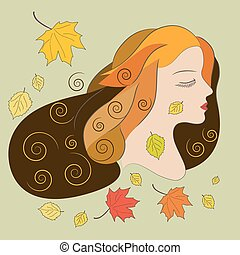 Young woman with autumn leaves, flat vector illustration