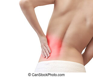Young woman with back pain holding the hand isolated
