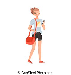 Young Woman With Bag And Mobile Phone Stands Smiling Flat Vector Illustration