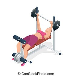 Young woman with barbell flexing muscles in gym. Gym adjustable weight bench with barbell isolated on white background. Flat 3d isometric vector illustration