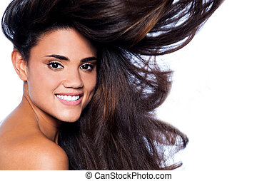 Young woman with beautiful long brown hairs - Pretty woman ...
