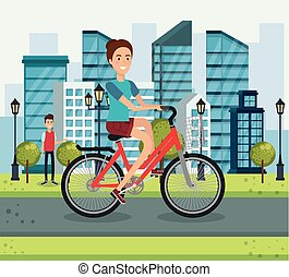 young woman with bicycle in the park