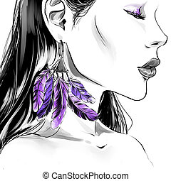022cfd58e66 Beautiful woman with big eyelashes and face-art Stock Photo Images ...