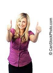 Young woman with both thumbs up