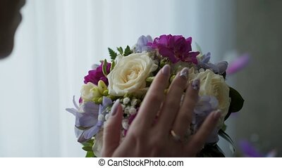 Young woman with bouquet - Young woman with flowers bouquet