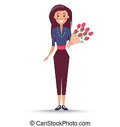 Young Woman with Bouquet of Roses Illustration - Young woman...