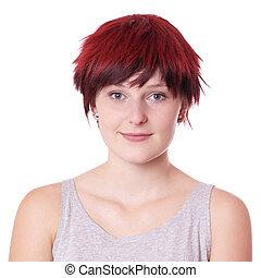 young woman with boyish short hair