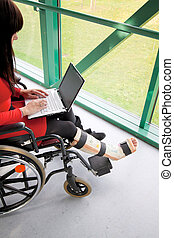 woman with broken leg - young woman with broken leg