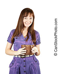 woman with brown wallet