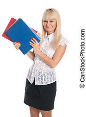 Young woman with business folders.