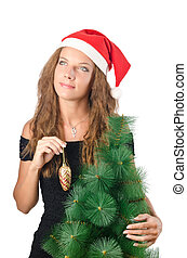 Young woman with christmas tree
