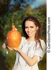 Young Woman with Clay Pitcher - Young woman wearing a...